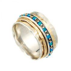 Plata de ley 925 anillo con ópalo y oro bandas llenas de giro