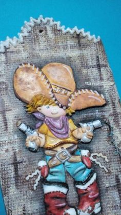 Vaquero/Cowboy - Cookie by Lydia Oviedo Fancy Cookies, Cute Cookies, Cowboy Cakes, Cookie Images, Cookie Tutorials, Fondant Figures, Cowboy And Cowgirl, Themed Cakes, Cookie Decorating