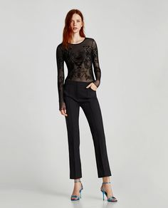 Image 1 of TULLE BODYSUIT WITH OPEN BACK from Zara