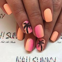 Tropical Paradise Short Nail Design Discover classy and fab cute and easy matte and glitter unique nail designs for short nails that will go for summer winter spring and. Nail Design Spring, Cute Summer Nail Designs, Cute Summer Nails, Short Nail Designs, Nail Art Designs, Nails Design, Summer Beach Nails, Tropical Nail Designs, Beach Nail Designs
