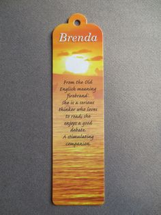 Bookmark Brenda Name Meaning Personalised Brand New Gift Present Idea Birthday | eBay
