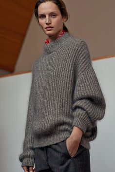 Hermès - Vestiaire d'Hiver 2015. THE MEN'S JUMPER in pebble grey and ecru mohair and silk, straight-cut trousers in carbon grey tweed, bandana in Éperon d'or red silk twill