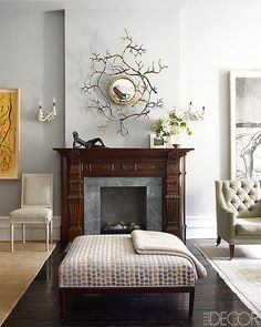 I like the tangled branches over the fireplace.  ELLE DECOR A HISTORIC HARLEM BROWNSTONE 2