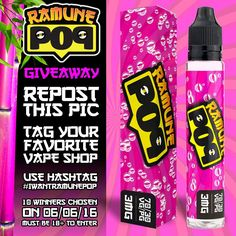 Win a bottle of one of the hottest new flavor of the summer  POP BERRY by @ramunepop! Repost this pic tag your favorite vape shop and use the hashtag #iwantramunepop! 10 winners will be chosen on 06/06/16. Must be 18 to enter or the legal age to vape in your area. Giveaway-only pages disqualified. Must be a U.S. resident to enter. 1 entry per day max.  Good luck! by vapeporn