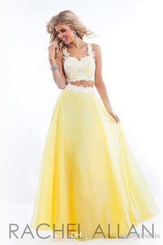 Two Pieces Prom Dresses Yellow Chiffon A-line Appliques Lace Long 2015 Sweet 16 Dress RACHELALLAN Evening Party Gowns For Girls Fashion