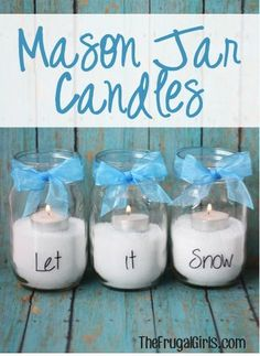 25+ Disney's Frozen Inspired Crafts - DIY for Life   mason jar candles