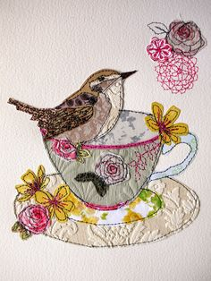 Wren Tea cup stitched mixed media original by AmandaWoodDesigns