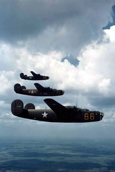 B-24D Liberators in formation, early 1943. This was probably a flight to test the visibility of a new National Insignia design