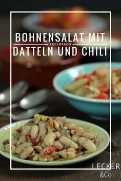 Spanische Tapas: Bohnensalat mit Pinienkernen, Datteln und Chili