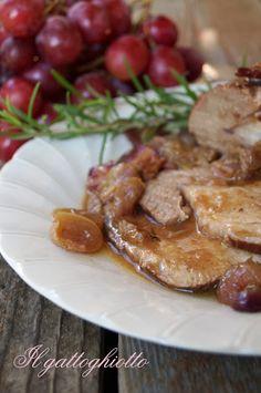 arrosto di maiale con pencetta e uva rossa