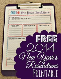 Free New Year's Resolution Printable --> Great to use with clients in goal setting