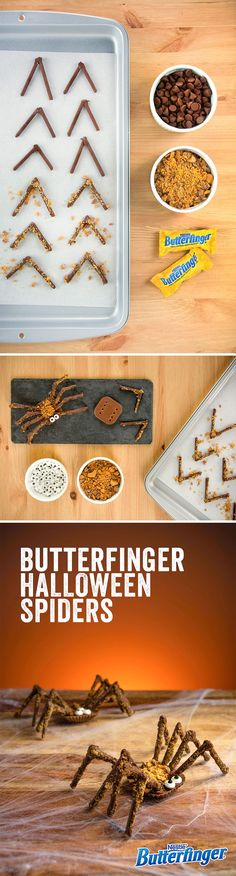 Make your Halloween party candy buffet a real treat with some creepy, crawly craftsmanship. Here's what you need to wow your guests: Butterfinger Cups, Butterfinger Bars, chocolate sticks, chocolate chips, candy eyes, and—last but not least—time to have some fun.