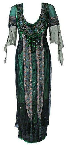 """02f7c1dd ephemeral-elegance: """" Peacock Embroidered Tea Gown, 1912 A. Metzner New York  """""""