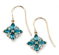 9ct Yellow Gold With Diamond London Blue Topaz Earrings Fancy