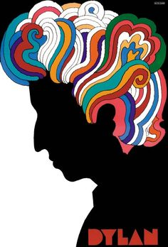 affiche : illustré par Milton Glaser, 1966, Bob Dylan, folk-rock, psychédélique, flower-power