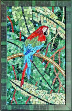 Mosaic art with stained glass a tropical by ShellyHeissDesigns, $795.00
