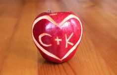 A simple way to show your sweetheart, they are on your mind. Carve into an apple whether in be initials or a short message (like I love you). Use lemon juice to prevent the apple from browning. Valentine Gifts, Valentines Day, Romantic Boyfriend, Like I Love You, Gifts For Boys, Boy Gifts, Romantic Gestures, Good Dates, Lovey Dovey