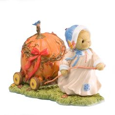 Enesco 4023639 Cherished Teddies Collection Pulling Pumpkin Car Figurine *** Startling review available here  : Home Decor Collectible Figurines