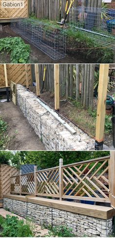 Gabion based fence retaining wall base to fence Garden Structures, Garden Paths, Fence Garden, Small Garden Retaining Wall, Garden Art, Cheap Retaining Wall, Gabion Retaining Wall, Backyard Retaining Walls, Garden Drawing