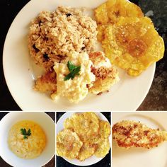 Colombian coconut rice with coconut crusted snapper and pineapple sauce and patacones on the side Pineapple Sauce, Coconut Rice, Risotto, Yummy Food, Ethnic Recipes, Pineapple Dip, Delicious Food
