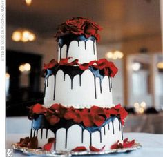 Love the black/red on white.  I've done the dripped chocolate on chocolate but never on white.  Looks very cool.