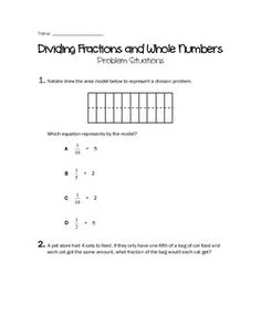 This includes:20 test-prep questions (word problems and modeling division of fractions and whole numbers) questions for dividing fractions and whole numbers. Questions include models, one-step word problems, or multi-step word problems. *Common core aligned- 5th Grade*TEKS Aligned (STAAR)- 5th Grade
