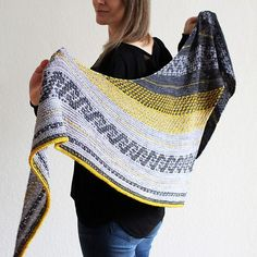 This shawl is all about slip-stitch and mosaic knitting. It combines garter stitch with some fun-to-knit colourwork elements. This shawl is all about slip-stitch and mosaic knitting. It combines garter stitch with some fun-to-knit colourwork elements. Knitted Shawls, Crochet Shawl, Knit Crochet, Slip Stitch Knitting, Lace Knitting, Shawl Patterns, Knitting Patterns Free, Knitting Ideas, Mosaic Knitting