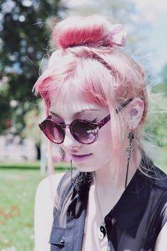 Bubblegum pink hair vintage style