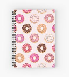 'Delicious Pink Donuts Pattern ' Spiral Notebook by newburyboutique Diy Notebook Cover, Writing Notebook, Notebook Design, Cute Spiral Notebooks, Cool Notebooks, Cute School Stationary, School Bag Essentials, Cool Journals, Cute School Supplies