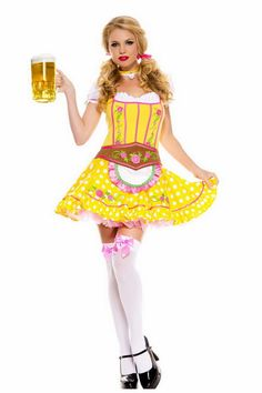 Nice Four Piece Set Floral Brocade Bodice Bright Dirndl Woman Beer Maid Costume Halloween German Beer Girl Costume Oktoberfest Party, German Oktoberfest, Sexy Costumes For Women, Sexy Halloween Costumes, Maid Halloween, Ladies Costumes, German Costume, Sexy Women, Beer Girl