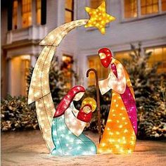 KNLSTORE Tall Christmas Lighted Nativity Scene Display w/ Holy Family Mary Joseph Baby Jesus Star of Bethlehem Clear Lights Decor Tinsel Outdoor Holiday Yard Decoration by knl store Christmas Yard Art, Christmas Nativity Scene, Noel Christmas, Christmas Lights, Nativity Scenes, Homemade Christmas, Amazon Christmas, Walmart Christmas Decorations, Outdoor Nativity Sets
