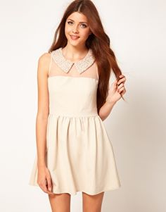 Darling Embellished Pearl Collar Skater Dress // rehearsal dinner - bridal shower