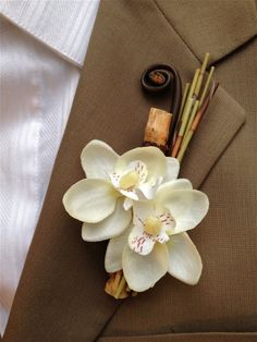 Phalaenopsis Orchid Bamboo Boutonniere Beach Tropical Destination Wedding by… Boutonnieres, Orchid Boutonniere, Prom Flowers, Wedding Flowers, Floral Wedding, Wedding Bouquets, Phalaenopsis Orchid, Silk Orchids, Groom And Groomsmen