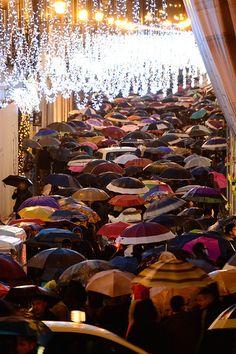 A sea of umbrellas in Rome