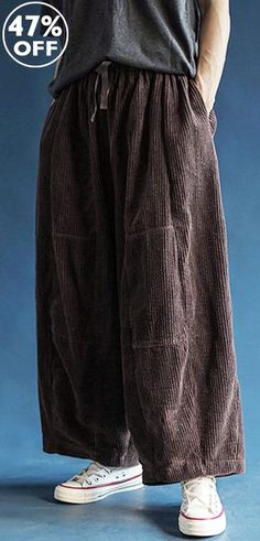 4adbb32dd3b88 Mens Vintage Corduroy Wide Leg Loose Drawstring Pockets Design Casual Pants