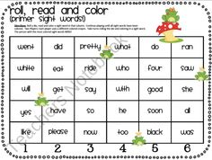 Roll, Read and Color Sight Words (Primer from TheMoffattGirls on TeachersNotebook.com (2 pages)