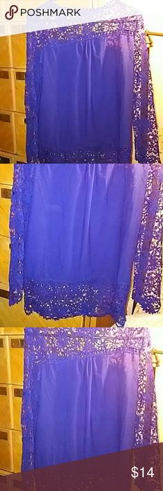 Pretty Blue blouse This lovely blue blouse is sheer and lace on the arms and around front and back around the neck. Size shows XL but it runs smaller so if your a medium to a large it should fit you. Tops Blouses