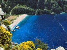 "A unique valley on the Southwest Mediterranean Coast of Turkey ""Butterfly Valley"" (Kelebekler Vadisi)."