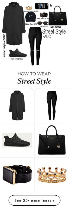 """""""Street Style"""" by anatiller on Polyvore featuring adidas Originals, adidas, MICHAEL Michael Kors, Casetify, Hadoro, Bochic, Nike Golf and Christian Dior"""
