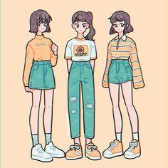 Sunny skies ✨💫🌻 Which would you wear? (Or mix n match? Kawaii Drawings, Cute Drawings, Drawing Sketches, Arte Do Kawaii, Kawaii Art, Cartoon Art Styles, Cute Art Styles, Arte Copic, Clothing Sketches