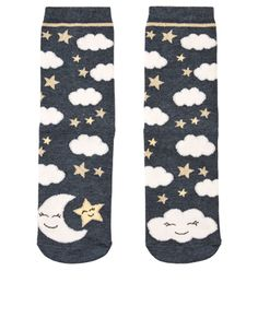 So dreamy! Crafted from stretch-cotton, our Night Night socks are patterned with fluffy clouds, sparkling stars and crescent moons.