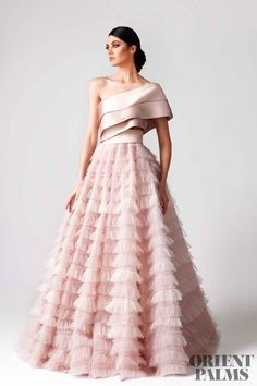 fadwa baalbaki spring 2018 couture one shoulder tiered bodice ruffled skirt romantic pink a line wedding dress mv -- Wedding Dress Trends to Love in Necklines & Sleeves Moda Indiana, Wedding Dress Trends, Wedding Dresses, Fancy Dresses For Weddings, Indian Fashion Dresses, Fashion Clothes, Indian Gowns, Trendy Dresses, Colorful Prom Dresses