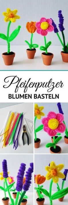Pipe cleaner making flowers: tulips, lavender and daffodils step by step . - Basteln Kinderpartry - Crafts world Kids Crafts, Diy Crafts To Do, Decor Crafts, Flower Crafts, Diy Flowers, Seashell Crafts, Beach Crafts, Spring Decoration, Fleurs Diy