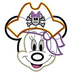 Miss Mouse Pirate Face Machine Applique Embroidery Design