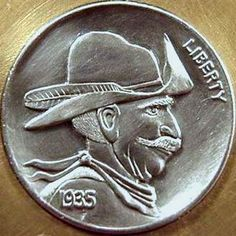 Cliff Kraft - Windy Hobo Nickel, Western Theme, Cliff, Buffalo, Cactus, Carving, Train, Art, Coins