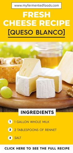 Making cheese at home is easier than you think. Take a look at this fresh cheese recipe or queso blanco as it's also known. It only has a couple of ingredients and you are likely to have all the supplies in your kitchen already. Fresh Cheese Recipe, Homemade Cheese, Homemade Recipe, Best Dinner Recipes, Good Healthy Recipes, Whole Food Recipes, Healthy Foods, Vegetarian Recipes, Making Cheese At Home