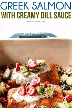 Easy baked Greek Salmon with Creamy Dill Sauce and optional Cucumber Tomato Salsa! This salmon is SO juicy, flavorful, easy, healthy and my family's favorite way to eat salmon! Dill Sauce For Salmon, Salmon Marinade, Cucumber Dill Sauce, Dill Salmon, Baked Salmon Recipes, Fish Recipes, Creamy Dill Sauce, Carlsbad Cravings, Healthiest Seafood