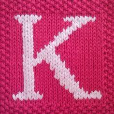 PDF Knitting pattern capital letter K afghan / blanket square. Fiona-Kelly on artfire.com