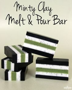 Minty Clay Melt & Pour Bar - Soap Queen - Minty Clay Melt and Pour Bar Tutorial from Soap Queen. Great bold colors using natural ingredients - Diy Savon, Savon Soap, Diy Peeling, Soap Melt And Pour, Green Soap, Soap Tutorial, Homemade Soap Recipes, Homemade Paint, Handmade Soaps