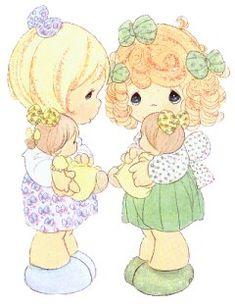 Niñas jugando a mamas con muñecas para imprimir